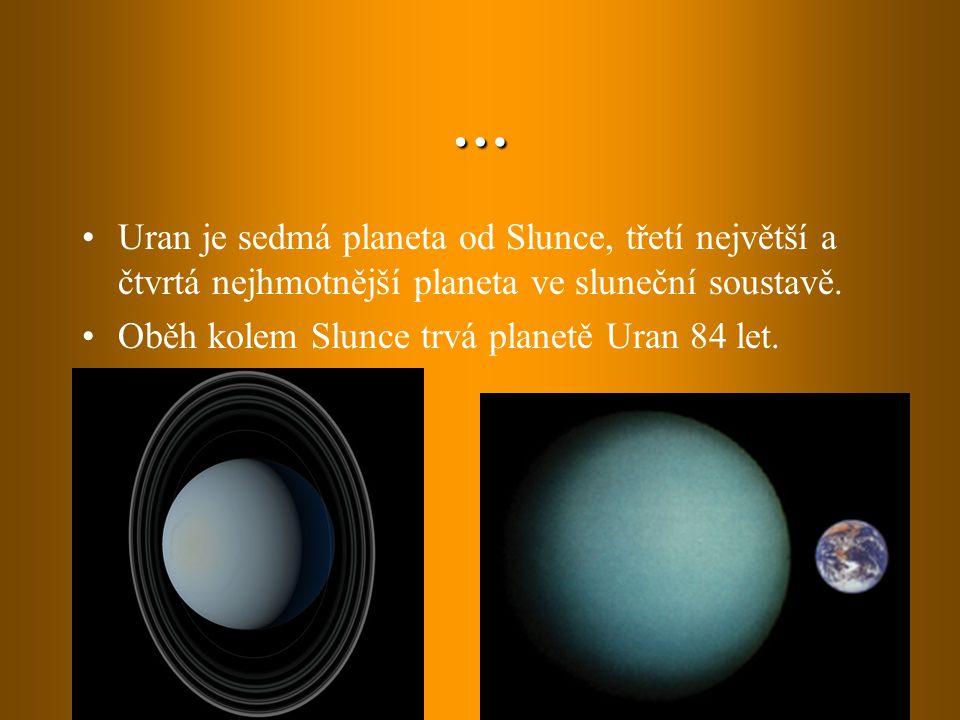 … Uran je sedmá planeta od Slunce, třetí největší a čtvrtá nejhmotnější planeta ve sluneční soustavě. Oběh kolem Slunce trvá planetě Uran 84 let.