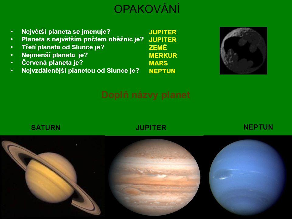 OPAKOVÁNÍ Největší planeta se jmenuje? Planeta s největším počtem oběžnic je? Třetí planeta od Slunce je? Nejmenší planeta je? Červená planeta je? Nej