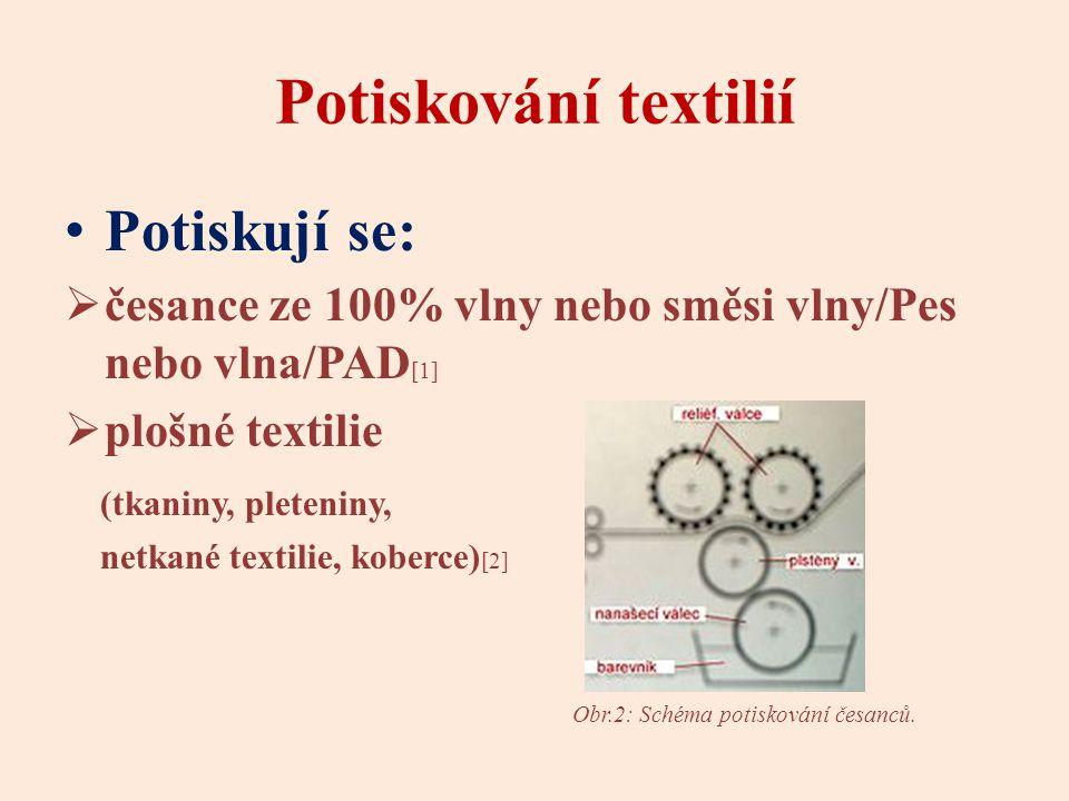 Potiskování textilií Potiskují se:  česance ze 100% vlny nebo směsi vlny/Pes nebo vlna/PAD [1]  plošné textilie (tkaniny, pleteniny, netkané textilie, koberce) [2] Obr.2: Schéma potiskování česanců.