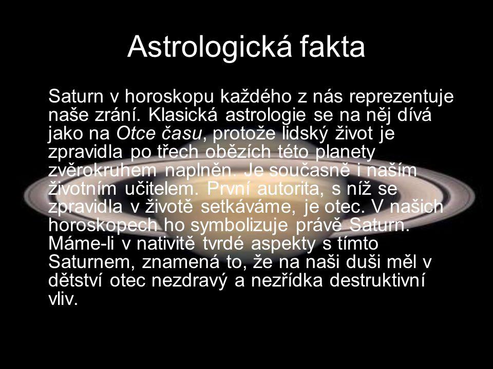 Astrologická fakta Saturn v horoskopu každého z nás reprezentuje naše zrání. Klasická astrologie se na něj dívá jako na Otce času, protože lidský živo