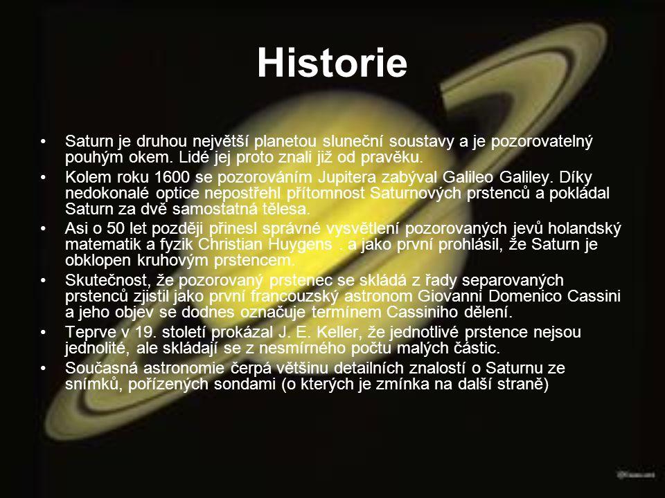 Historie Saturn je druhou největší planetou sluneční soustavy a je pozorovatelný pouhým okem. Lidé jej proto znali již od pravěku. Kolem roku 1600 se