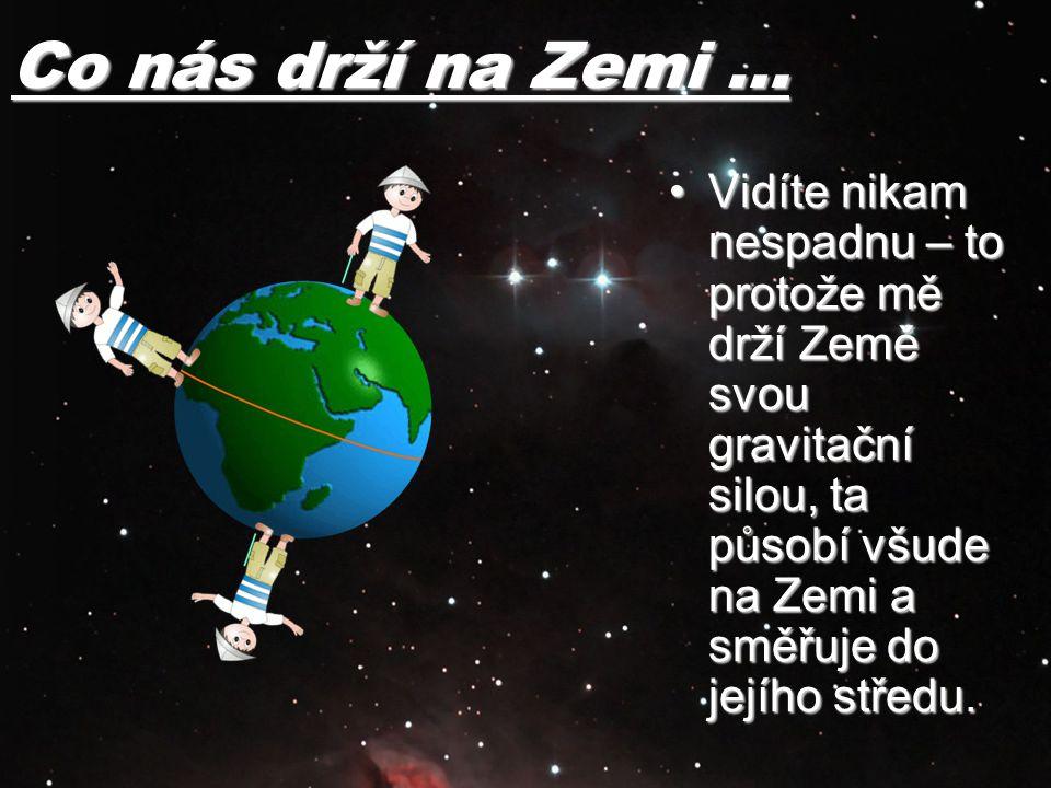 Co nás drží na Zemi … Vidíte nikam nespadnu – to protože mě drží Země svou gravitační silou, ta působí všude na Zemi a směřuje do jejího středu.Vidíte