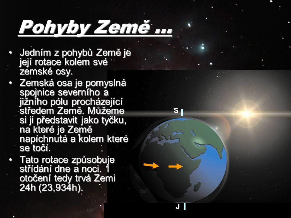 Pohyby Země … Jedním z pohybů Země je její rotace kolem své zemské osy.Jedním z pohybů Země je její rotace kolem své zemské osy. Zemská osa je pomysln