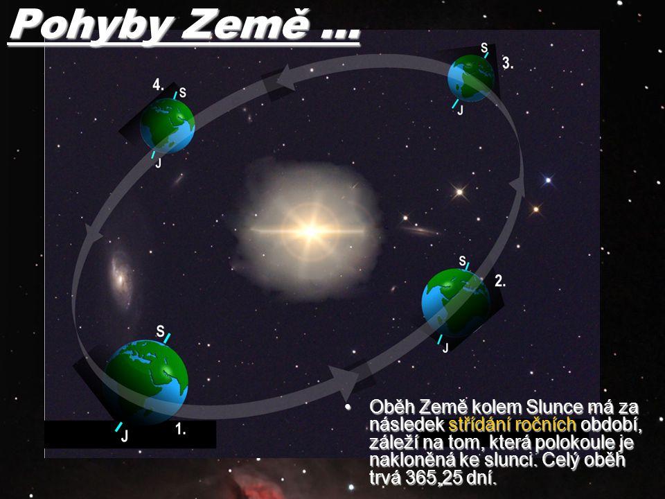 Oběh Země kolem Slunce má za následek střídání ročních období, záleží na tom, která polokoule je nakloněná ke slunci. Celý oběh trvá 365,25 dní.Oběh Z