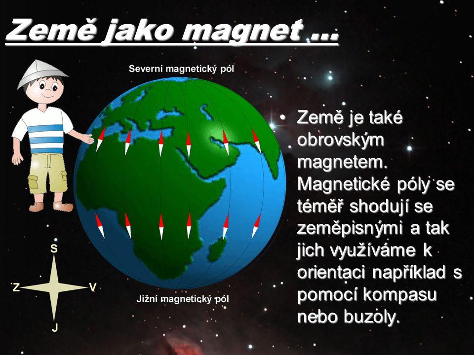Země jako magnet … Země je také obrovským magnetem. Magnetické póly se téměř shodují se zeměpisnými a tak jich využíváme k orientaci například s pomoc