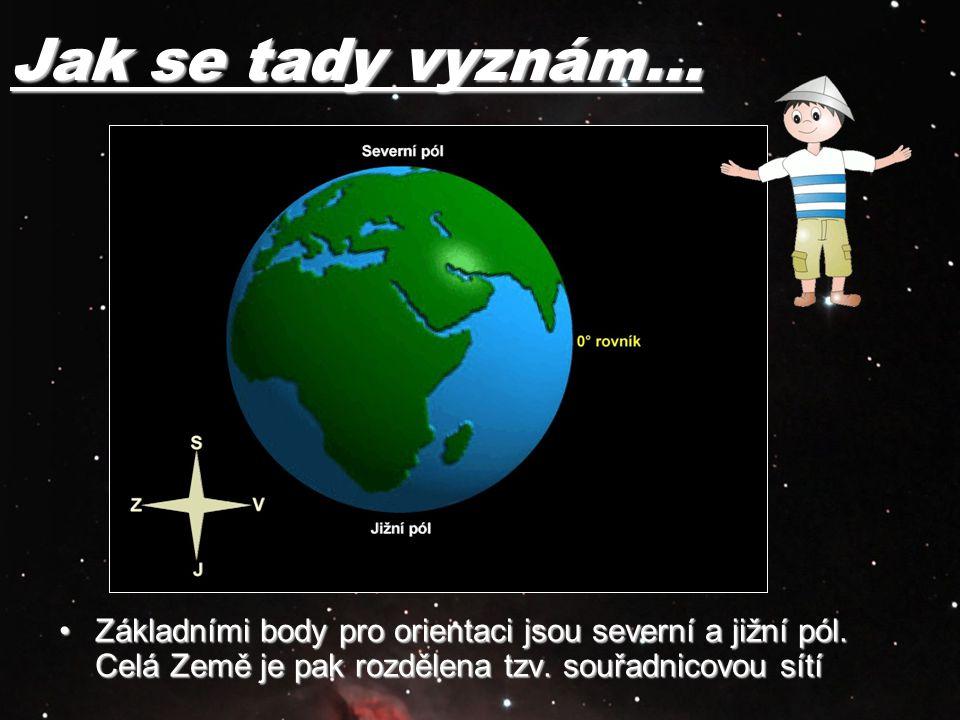Jak se tady vyznám… Základními body pro orientaci jsou severní a jižní pól. Celá Země je pak rozdělena tzv. souřadnicovou sítíZákladními body pro orie