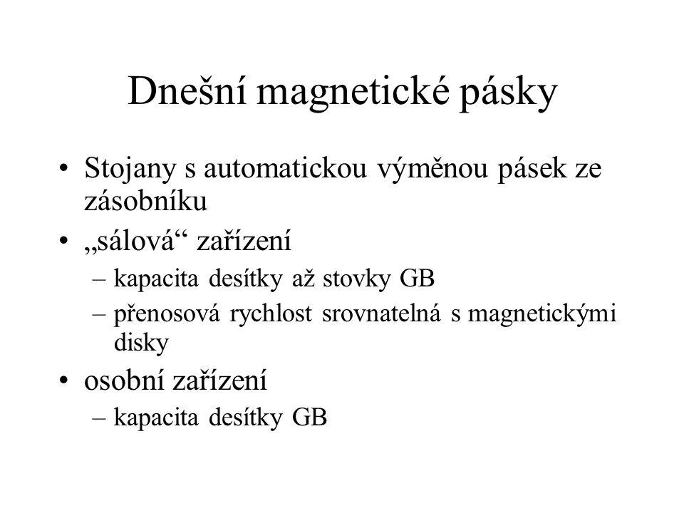 """Dnešní magnetické pásky Stojany s automatickou výměnou pásek ze zásobníku """"sálová zařízení –kapacita desítky až stovky GB –přenosová rychlost srovnatelná s magnetickými disky osobní zařízení –kapacita desítky GB"""