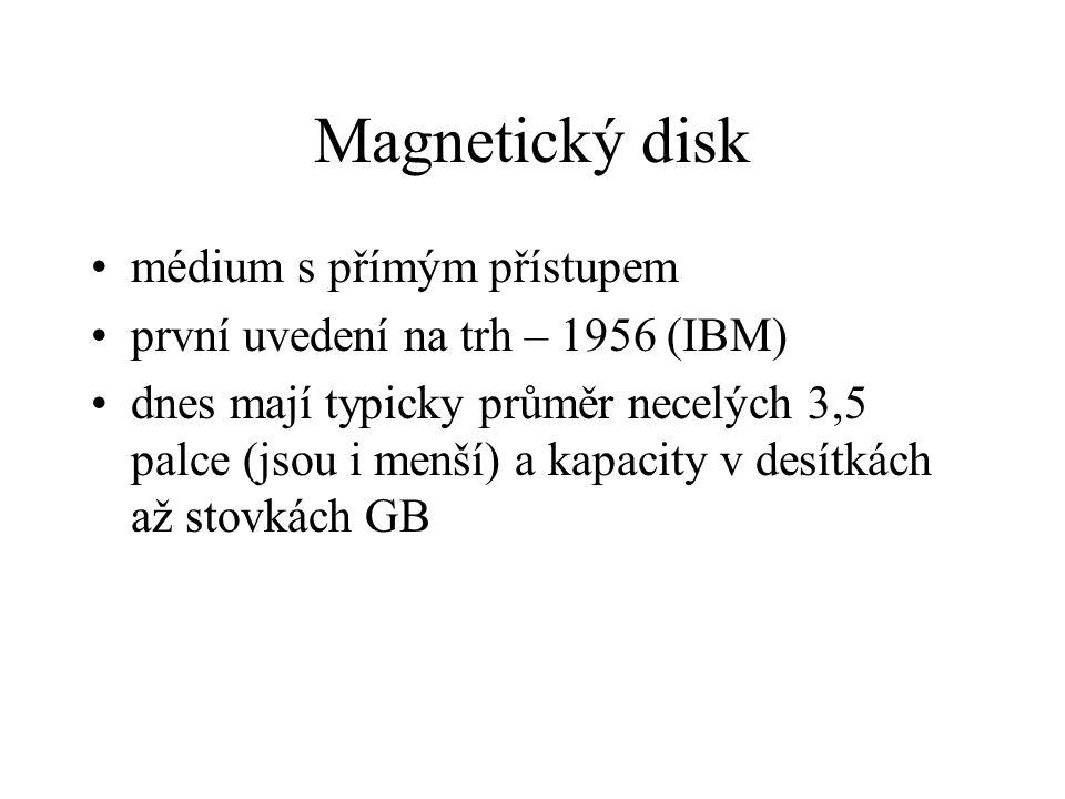 Magnetický disk médium s přímým přístupem první uvedení na trh – 1956 (IBM) dnes mají typicky průměr necelých 3,5 palce (jsou i menší) a kapacity v desítkách až stovkách GB