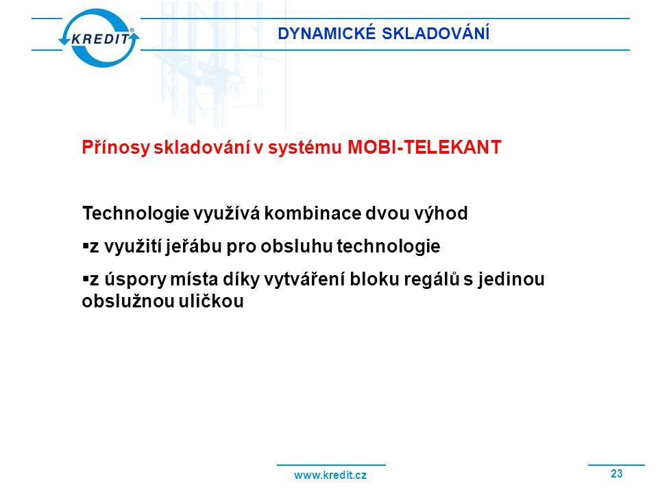 www.kredit.cz 23 DYNAMICKÉ SKLADOVÁNÍ Přínosy skladování v systému MOBI-TELEKANT Technologie využívá kombinace dvou výhod  z využití jeřábu pro obslu