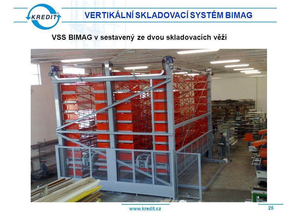 www.kredit.cz 26 OPLÁŠTĚNÝ VSS BIMAG Opláštěný vertikální skladovací systém, instalovaný vně výrobní haly Vnější vstupní místo skladovacího systému