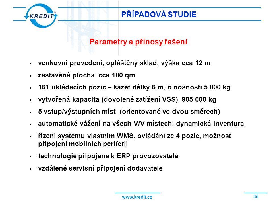 www.kredit.cz 35 PŘÍPADOVÁ STUDIE  venkovní provedení, opláštěný sklad, výška cca 12 m  zastavěná plocha cca 100 qm  161 ukládacích pozic – kazet d