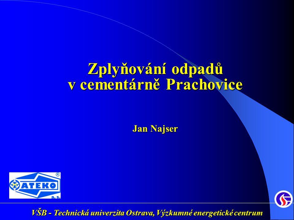 VŠB - Technická univerzita Ostrava, Výzkumné energetické centrum 11.PROCESNÍ SCHÉMA Termická účinnost Energoplyn / Surovina = 81 % Surovina Reaktor Zplynovací vzduch Dmychadlo Energoplyn Horký plyn Popel 50 kg.h -1 700 kg.h-1 17 MJ.kg -1 3,30 MW 850 o C 1460 m 3 n.h -1 600 o C 5,65MJ.m -3 n 2,68MW Vzduch 500 o C