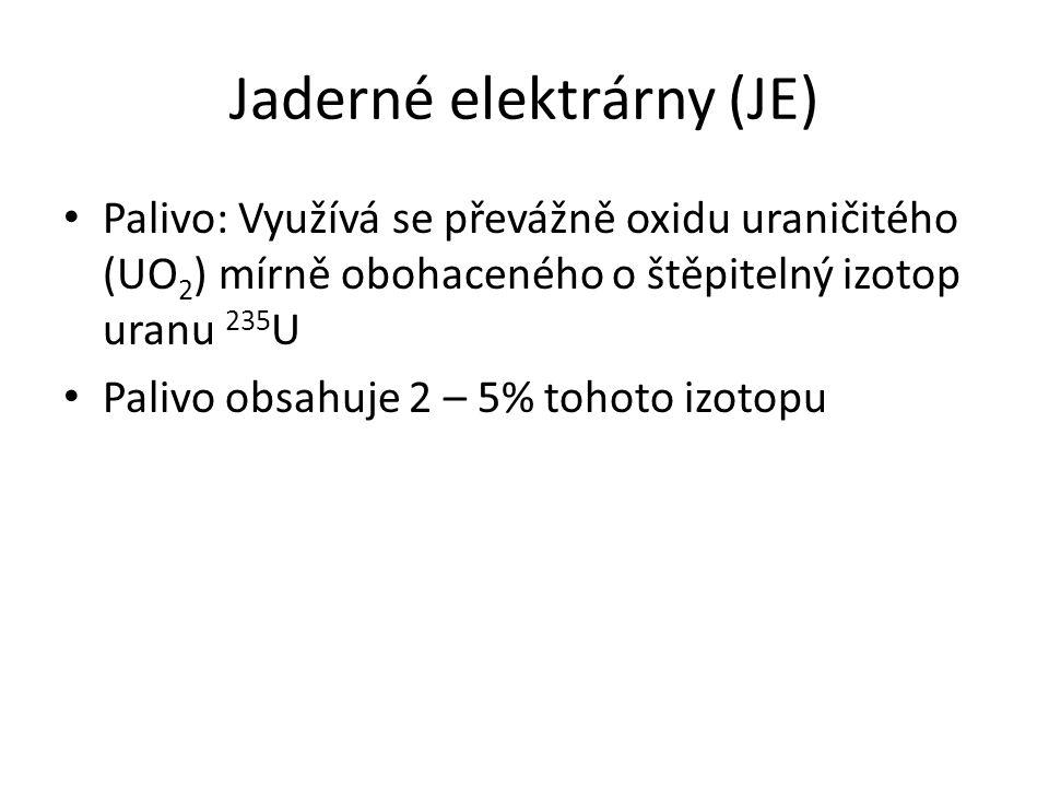 Jaderné elektrárny (JE) Palivo: Využívá se převážně oxidu uraničitého (UO 2 ) mírně obohaceného o štěpitelný izotop uranu 235 U Palivo obsahuje 2 – 5%