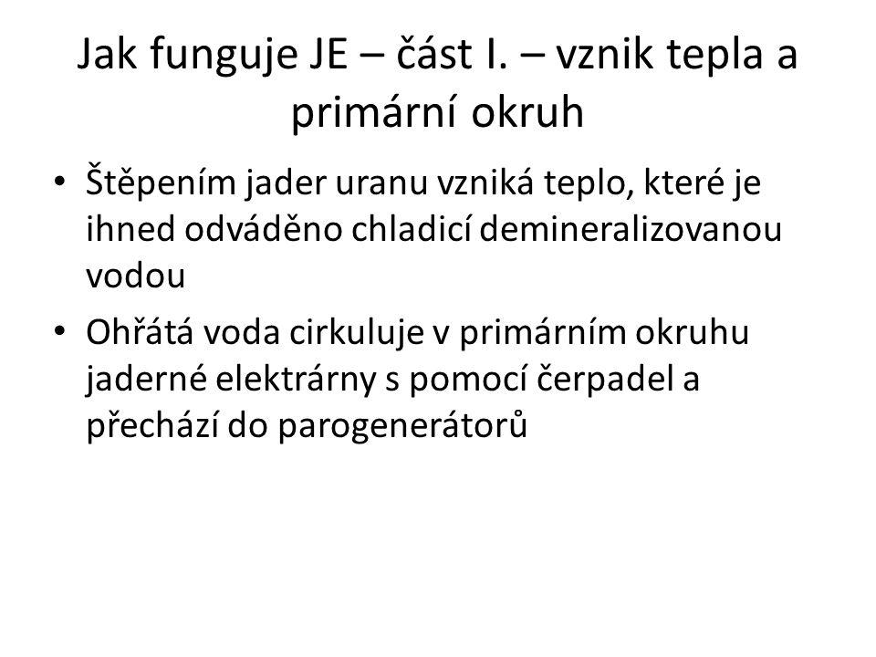 Jak funguje JE – část I. – vznik tepla a primární okruh Štěpením jader uranu vzniká teplo, které je ihned odváděno chladicí demineralizovanou vodou Oh