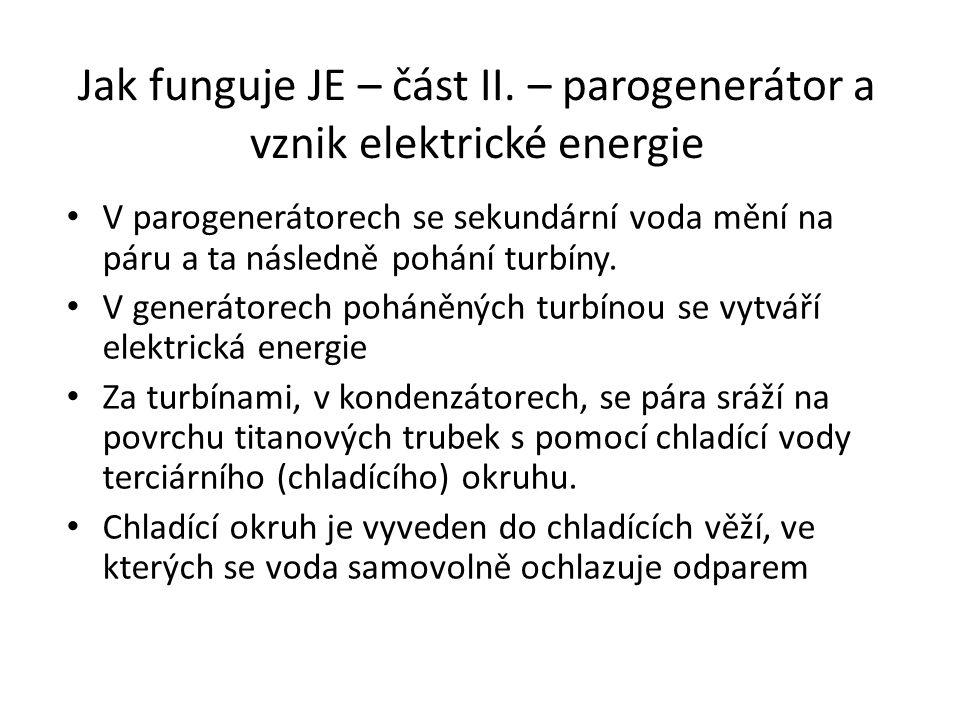Jak funguje JE – část II. – parogenerátor a vznik elektrické energie V parogenerátorech se sekundární voda mění na páru a ta následně pohání turbíny.