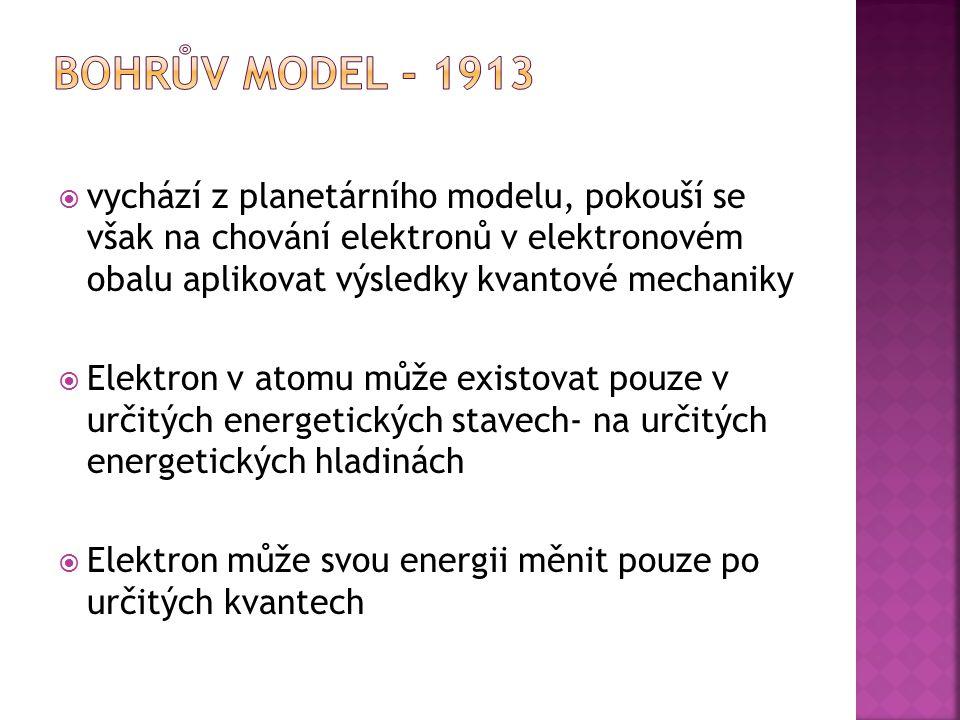  aplikace pouze na atom vodíku  Spektra složitějších atomů však byla prostřednictvím tohoto modelu neřešitelná