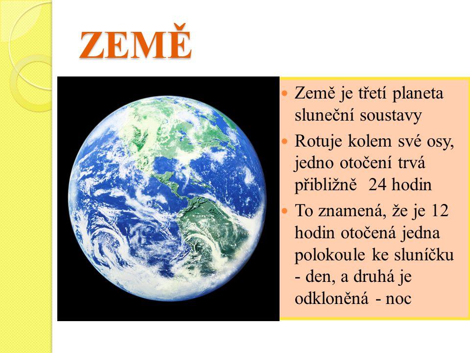ZEMĚ Země je třetí planeta sluneční soustavy Rotuje kolem své osy, jedno otočení trvá přibližně 24 hodin To znamená, že je 12 hodin otočená jedna polokoule ke sluníčku - den, a druhá je odkloněná - noc