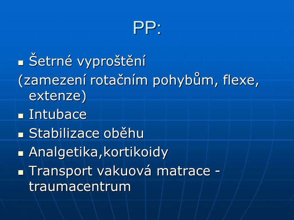 PP: Šetrné vyproštění Šetrné vyproštění (zamezení rotačním pohybům, flexe, extenze) Intubace Intubace Stabilizace oběhu Stabilizace oběhu Analgetika,k
