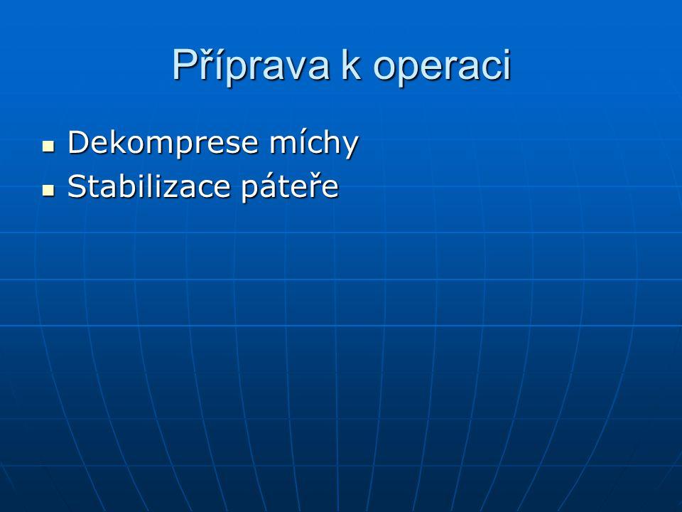 Příprava k operaci Dekomprese míchy Dekomprese míchy Stabilizace páteře Stabilizace páteře
