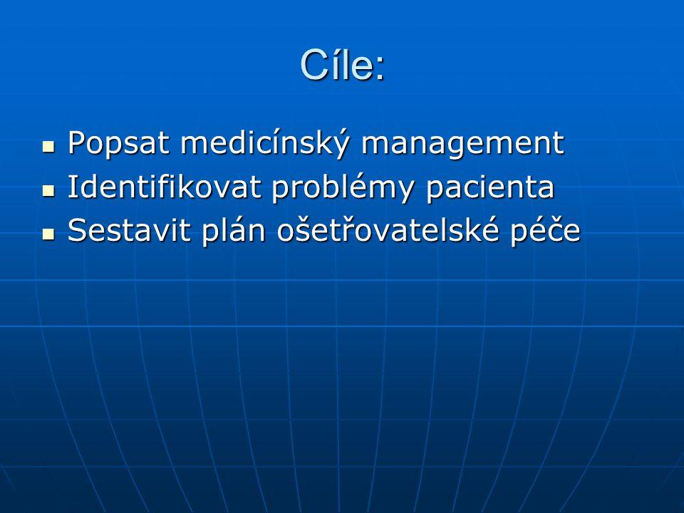 Cíle: Popsat medicínský management Popsat medicínský management Identifikovat problémy pacienta Identifikovat problémy pacienta Sestavit plán ošetřova