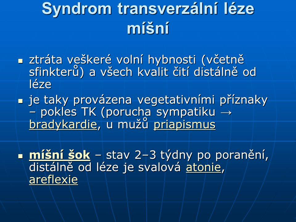 Syndrom transverzální léze míšní ztráta veškeré volní hybnosti (včetně sfinkterů) a všech kvalit čití distálně od léze ztráta veškeré volní hybnosti (
