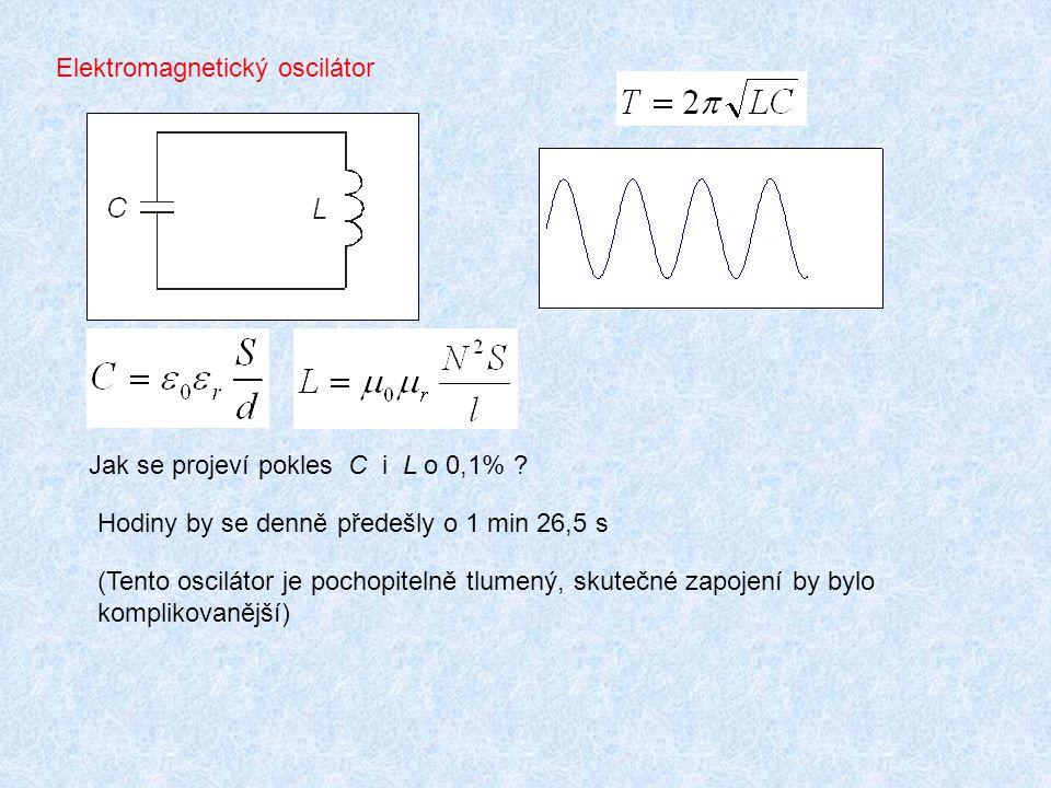 Elektromagnetický oscilátor Jak se projeví pokles C i L o 0,1% ? Hodiny by se denně předešly o 1 min 26,5 s (Tento oscilátor je pochopitelně tlumený,