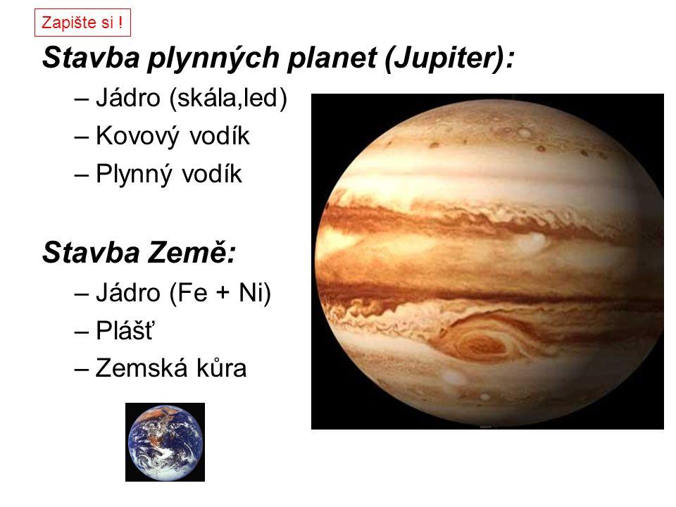Stavba plynných planet (Jupiter): –Jádro (skála,led) –Kovový vodík –Plynný vodík Stavba Země: –Jádro (Fe + Ni) –Plášť –Zemská kůra Zapište si !
