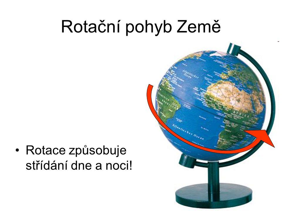 Rotační pohyb Země Rotace způsobuje střídání dne a noci!