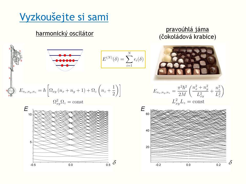 Vyzkoušejte si sami harmonický oscilátor pravoúhlá jáma (čokoládová krabice) EE 