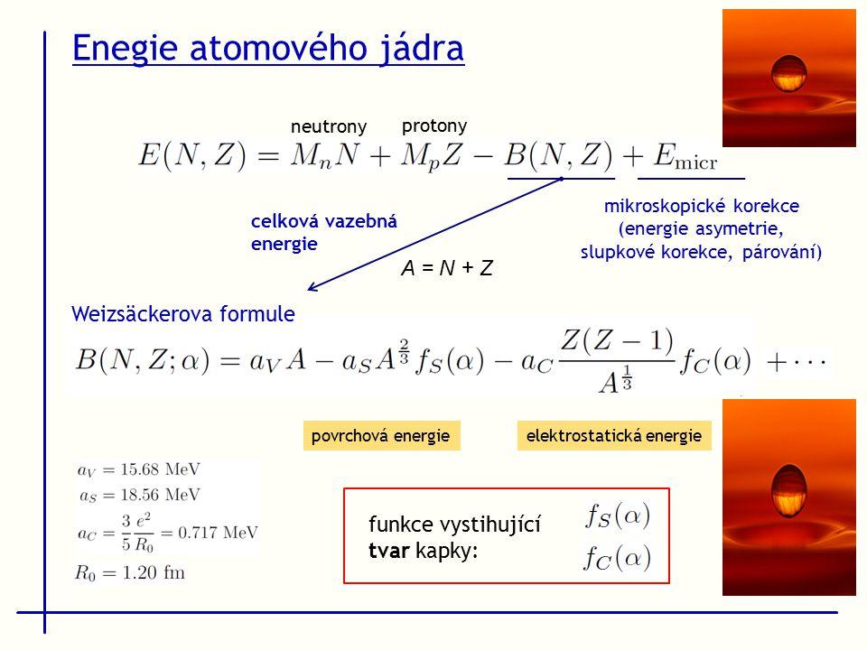 Enegie atomového jádra povrchová energieelektrostatická energie A = N + Z celková vazebná energie mikroskopické korekce (energie asymetrie, slupkové korekce, párování) funkce vystihující tvar kapky: neutrony protony Weizsäckerova formule
