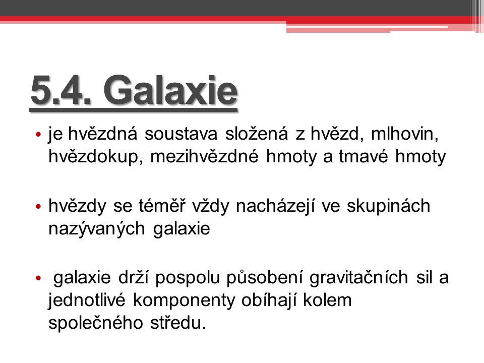 5.4. Galaxie je hvězdná soustava složená z hvězd, mlhovin, hvězdokup, mezihvězdné hmoty a tmavé hmoty hvězdy se téměř vždy nacházejí ve skupinách nazý