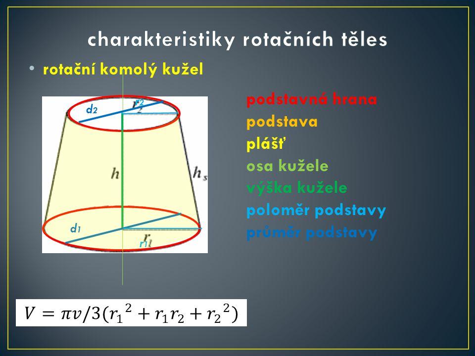 rotační komolý kužel podstavná hrana podstava plášť osa kužele výška kužele poloměr podstavy průměr podstavy d1d1 r1r1 r2r2 d2d2