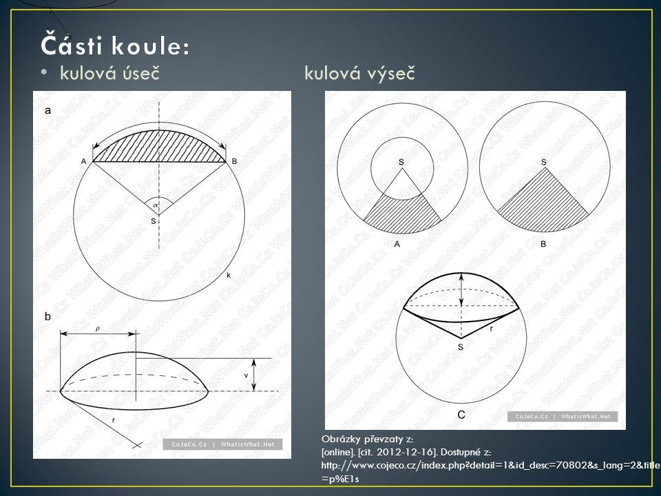 kulová úsečkulová výseč Obrázky převzaty z: [online]. [cit. 2012-12-16]. Dostupné z: http://www.cojeco.cz/index.php?detail=1&id_desc=70802&s_lang=2&ti