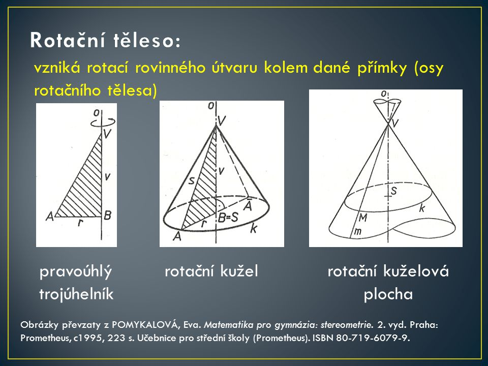 vzniká rotací rovinného útvaru kolem dané přímky (osy rotačního tělesa) rotační kuželrotační kuželová plocha Obrázky převzaty z POMYKALOVÁ, Eva. Matem