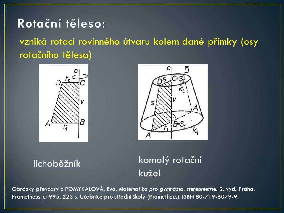 vzniká rotací rovinného útvaru kolem dané přímky (osy rotačního tělesa) komolý rotační kužel Obrázky převzaty z POMYKALOVÁ, Eva. Matematika pro gymnáz