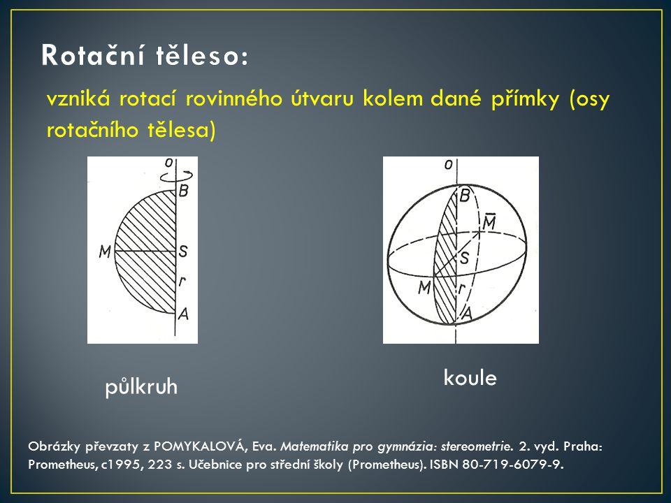 vzniká rotací rovinného útvaru kolem dané přímky (osy rotačního tělesa) koule Obrázky převzaty z POMYKALOVÁ, Eva. Matematika pro gymnázia: stereometri