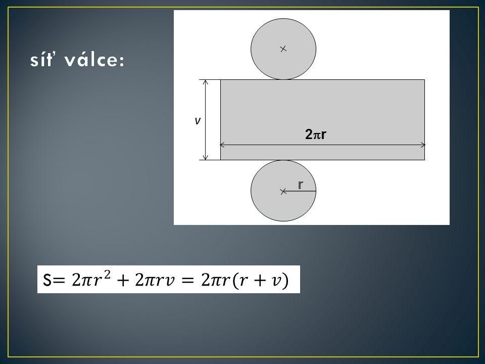 rotační kužel podstavná hrana podstava plášť osa kužele výška kužele poloměr podstavy průměr podstavy d r rovnostranný kužel – osový řez je rovnostranný trojúh.