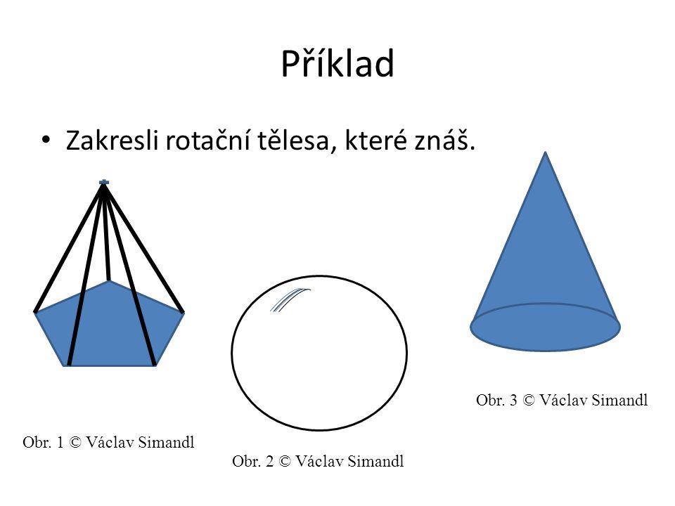 Příklad Zakresli rotační tělesa, které znáš. Obr. 1 © Václav Simandl Obr. 2 © Václav Simandl Obr. 3 © Václav Simandl
