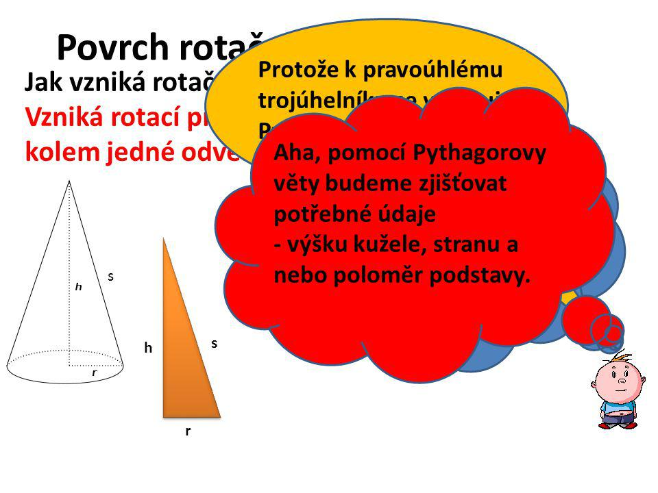 Povrch rotačního kužele Jak vzniká rotační kužel .