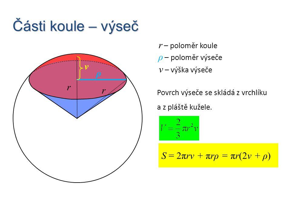 Části koule – výseč r S = 2πrv + πrρ = πr(2v + ρ) r – poloměr koule r ρ v ρ – poloměr výseče v – výška výseče Povrch výseče se skládá z vrchlíku a z p