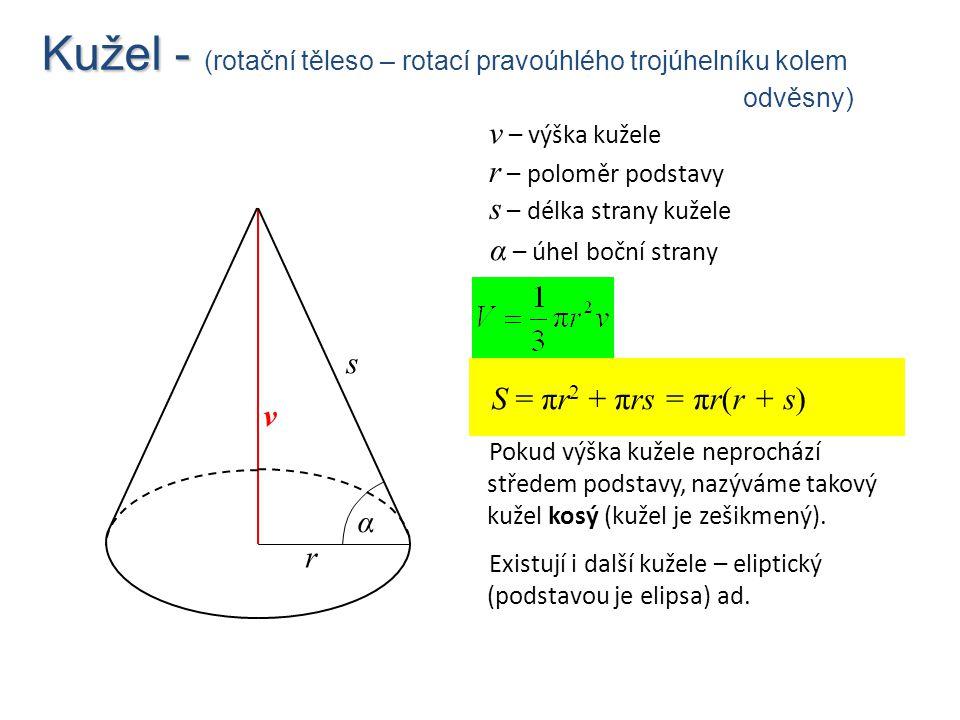 Kužel - Kužel - (rotační těleso – rotací pravoúhlého trojúhelníku kolem odvěsny) S = πr 2 + πrs = πr(r + s) Pokud výška kužele neprochází středem pods