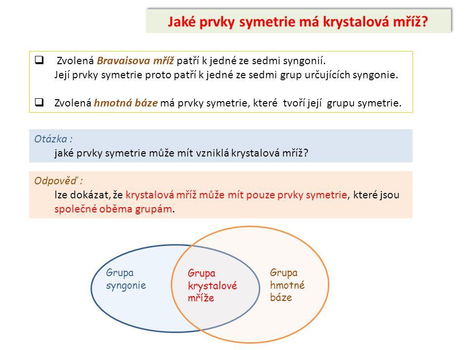 Jaké prvky symetrie má krystalová mříž?  Zvolená Bravaisova mříž patří k jedné ze sedmi syngonií. Její prvky symetrie proto patří k jedné ze sedmi gr