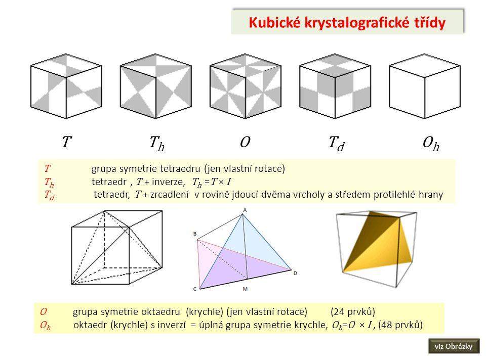 Kubické krystalografické třídy T T h O T d O h T grupa symetrie tetraedru (jen vlastní rotace) T h tetraedr, T + inverze, T h = T × I T d tetraedr, T