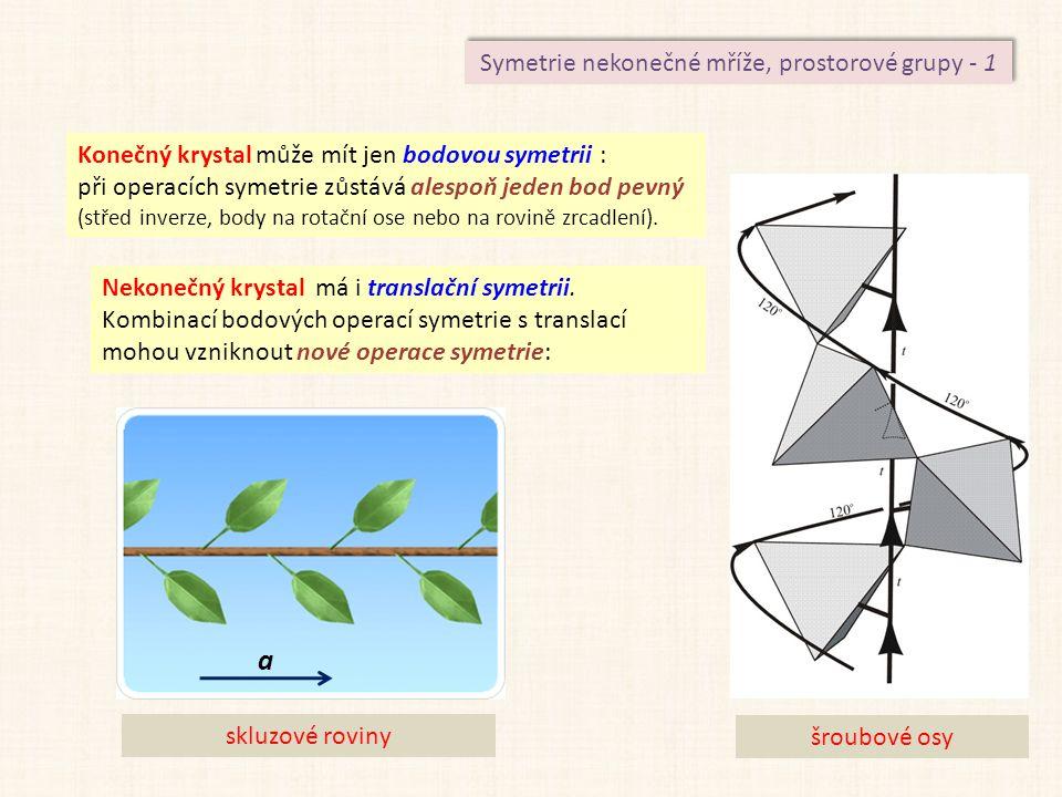 Symetrie nekonečné mříže, prostorové grupy - 1 Konečný krystal může mít jen bodovou symetrii : při operacích symetrie zůstává alespoň jeden bod pevný