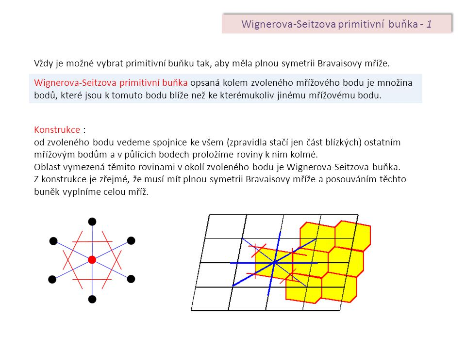 Wignerova-Seitzova primitivní buňka - 1 Vždy je možné vybrat primitivní buňku tak, aby měla plnou symetrii Bravaisovy mříže. Wignerova-Seitzova primit