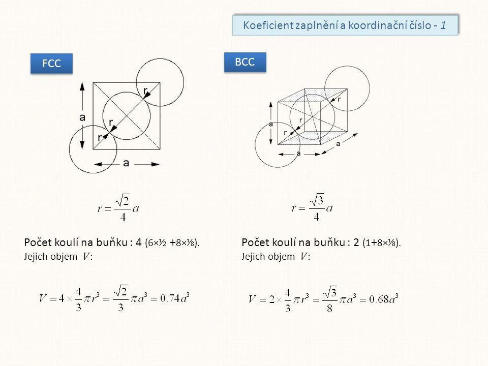 Koeficient zaplnění a koordinační číslo - 1 FCC Počet koulí na buňku : 4 (6×⅟ 2 + 8×⅟ 8 ). Jejich objem V : BCC Počet koulí na buňku : 2 (1 + 8×⅟ 8 ).