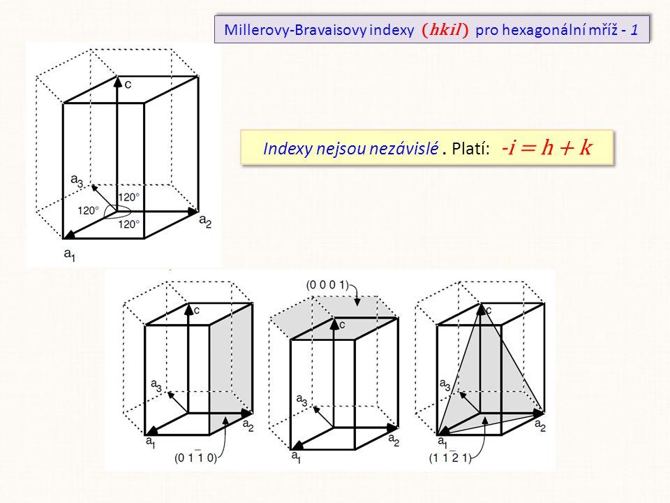 Millerovy-Bravaisovy indexy (hk i l ) pro hexagonální mříž - 1 Indexy nejsou nezávislé. Platí: -i = h + k