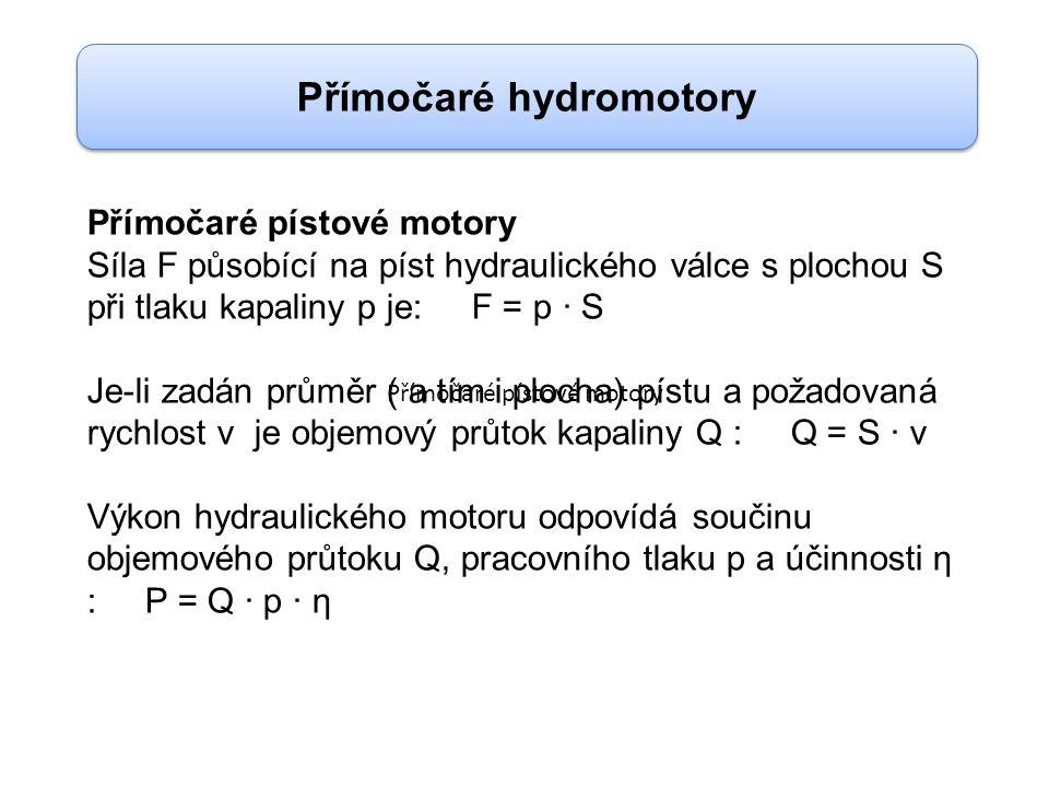 Přímočaré pístové motory Síla F působící na píst hydraulického válce s plochou S při tlaku kapaliny p je: F = p · S Je-li zadán průměr ( a tím i ploch