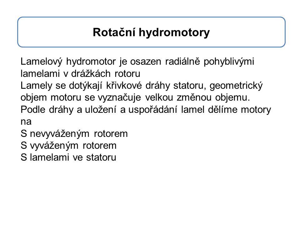 Rotační pístové motory Princip a konstrukce je stejná jako u čerpadel Vlastnosti rotačních pístových hydromotorů – hodí se pro velké tlaky a otáčky – mají dobrou účinnost – mohou pracovat v uzavřených obvodech Rotační hydromotory