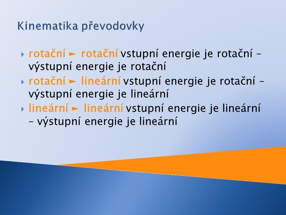  rotační ► rotační vstupní energie je rotační – výstupní energie je rotační  rotační ► lineární vstupní energie je rotační – výstupní energie je lin